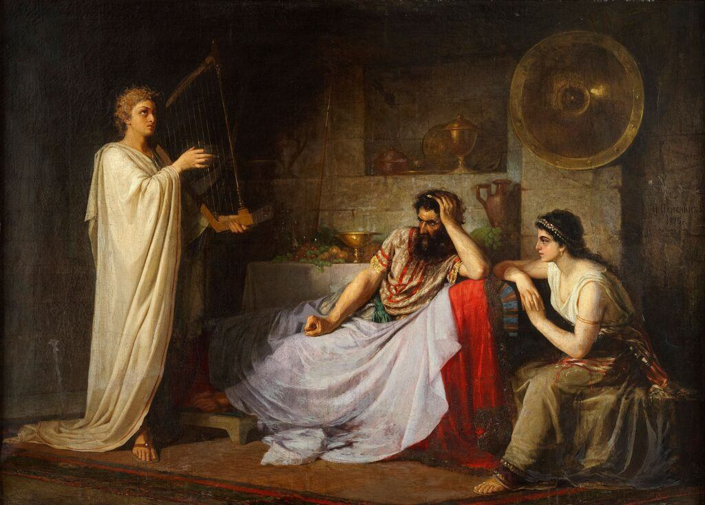 Saul has David play the lyre