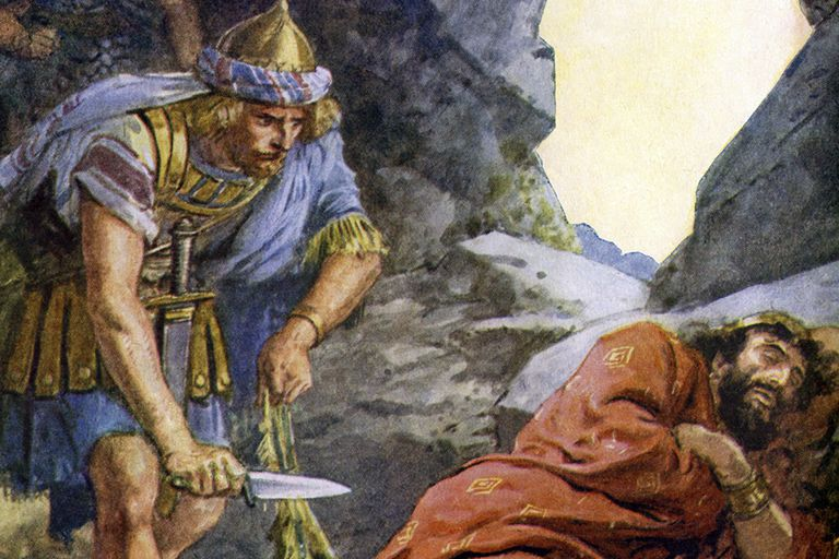 David cuts a piece of Saul's cloak