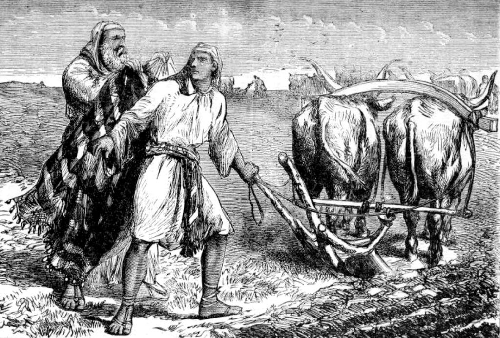 Elijah calls Elisha from plowing the field to be his servant