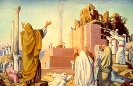 Ezra directing the rebuilding to the Temple of God