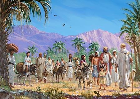 Ezra leading the Israelites back to Jeruselum