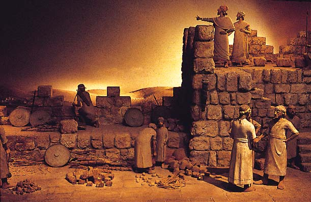 Nehemiah directing the rebuilding of the walls around Jeruselem