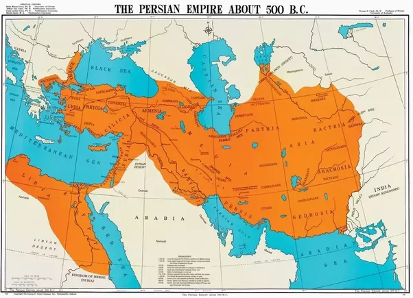Map of the Persian Empire 500 BC