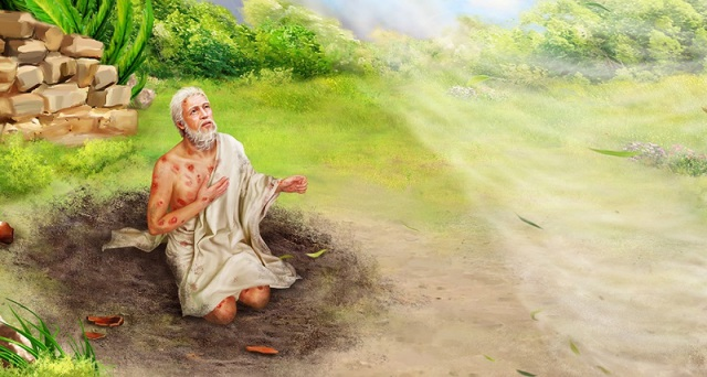 God speaks to Job out of a whirlwind