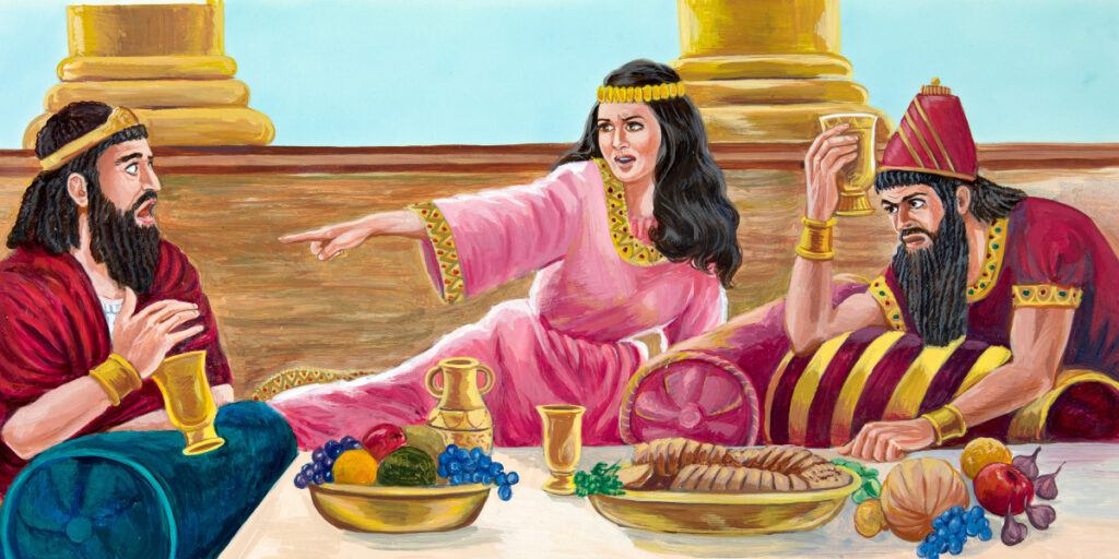 Esther exposes the plot of Haman to the king of Persia