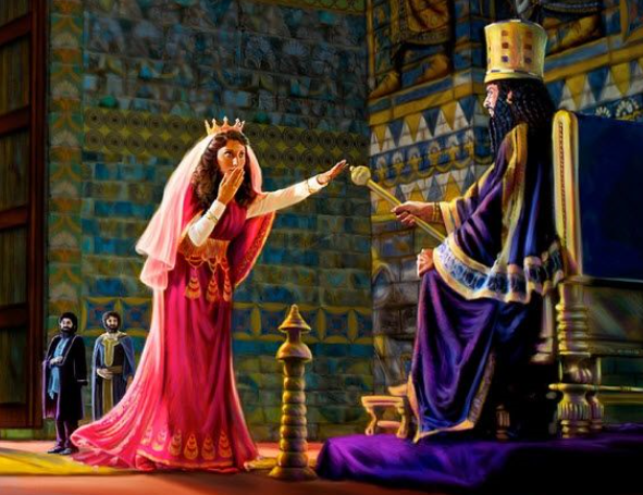 Esther approaches the king and he holds out his scepter, sparing her life