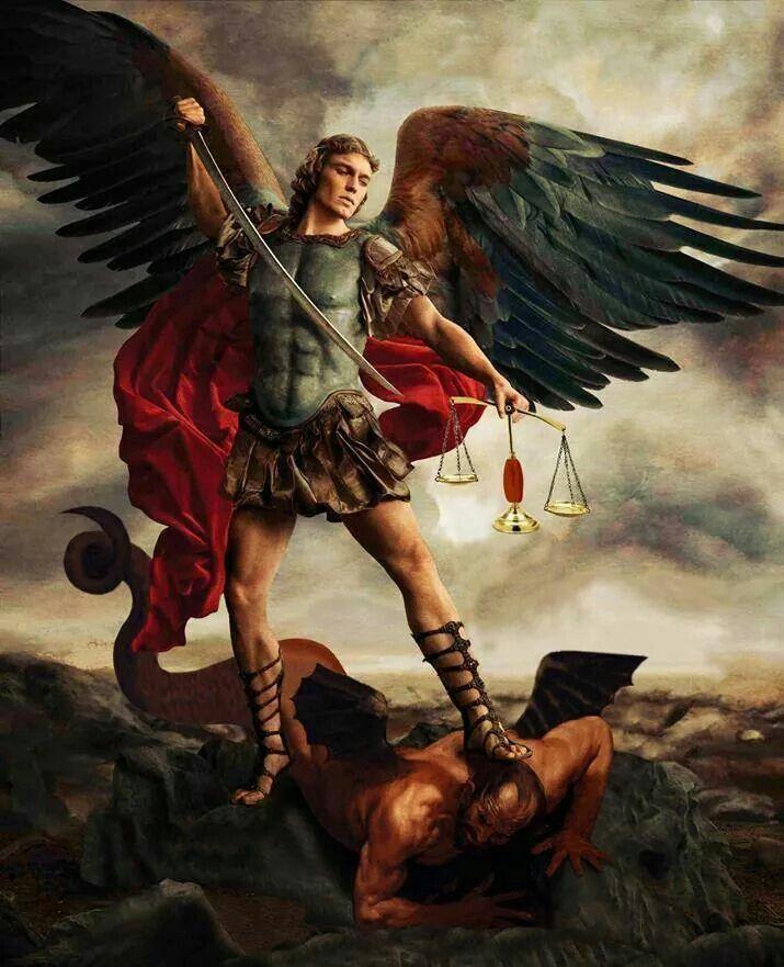 Arch angel Michael battling Satan