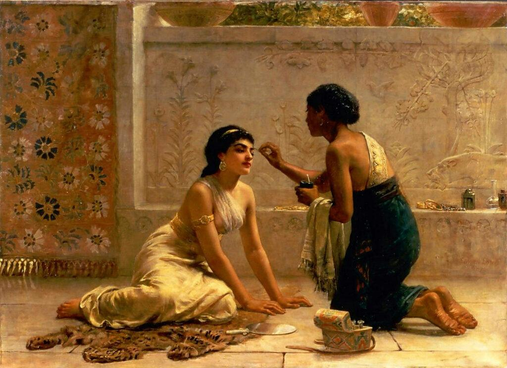 Esther getting her beauty treatments in preparation for her time with the king of Persia