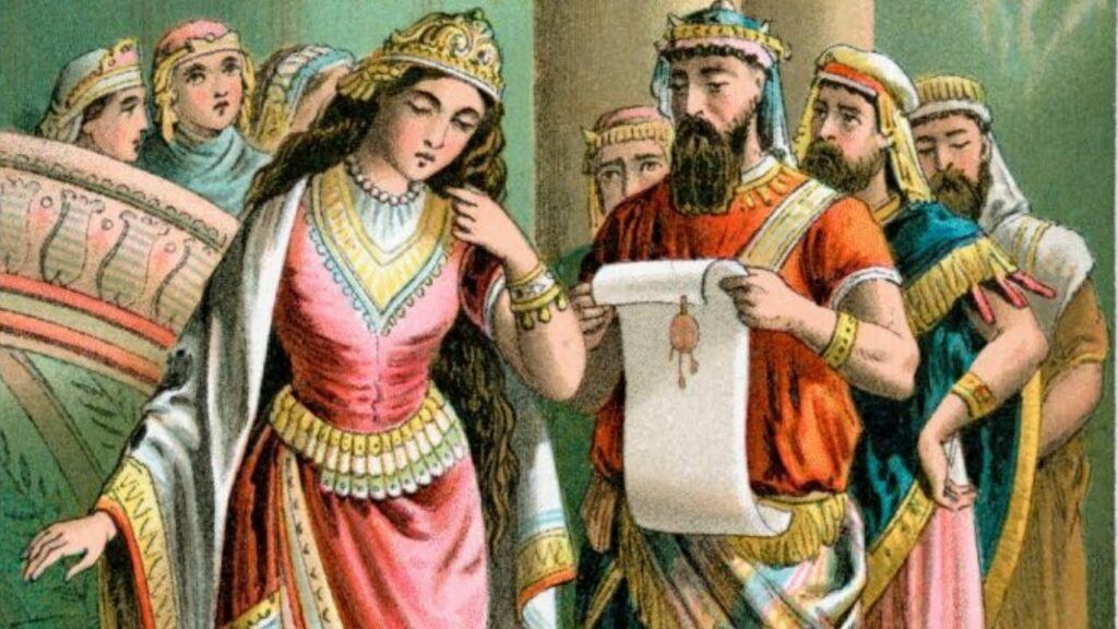 Queen Vashti dethroned for her disobedience in refusing the request of the king